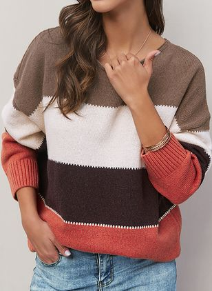 Round Neckline Stripe Casual Regular Shift Sweaters (1389747)