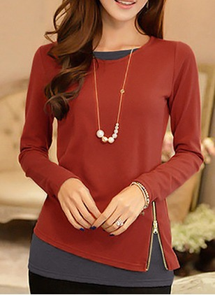 Cotton Round Neck Long Sleeve Elegant T-shirts