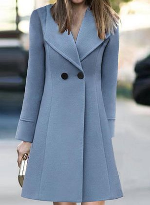Long Sleeve V-neck Buttons Trench Coats (106704836)