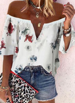 Floral Casual Off the Shoulder 3/4 Sleeves Blouses (4348034)