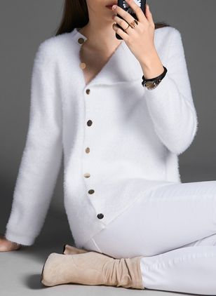Collar Solid Elegant Tight Regular Buttons Sweaters (1406083)