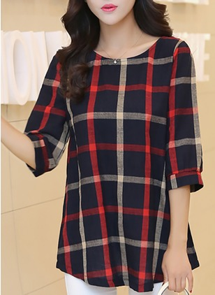 Tartan Casual Cotton Round Neckline 3/4 Sleeves Blouses  ...