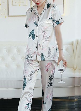 Collar Floral Pockets Pajamas