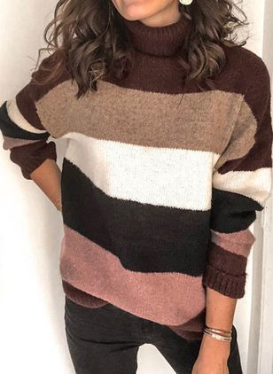 Draped Neckline Color Block Casual Loose Regular Shift Sweaters (111109704)