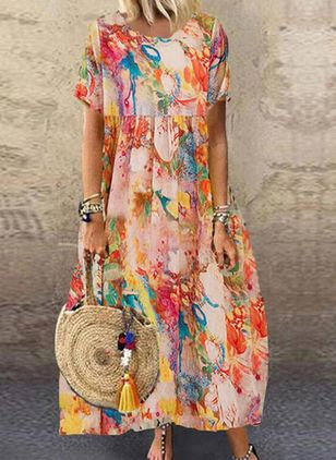 Casual Floral Tunic Round Neckline Shift Dress (147210170)