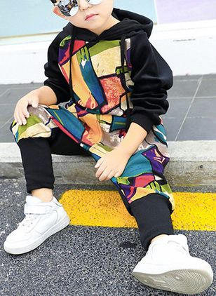 Boys' Cool Color Block Going out Long Sleeve Clothing Sets