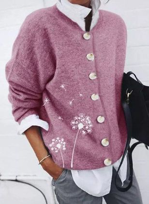 Long Sleeve Round Neck Buttons Sweaters Coats (146937182)