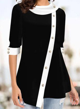 Color Block Casual Draped Neckline Long Sleeve Blouses (107561470)