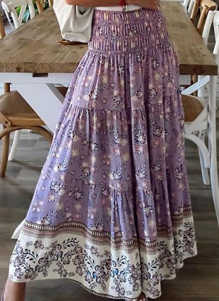 Floral Maxi Vintage Pattern Skirts (4127645)