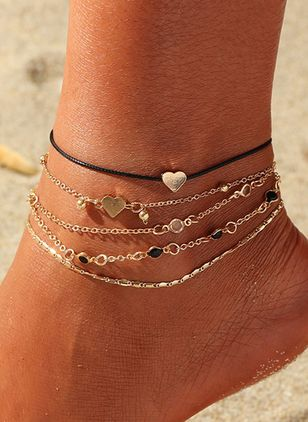 Casual No Stone Heart Round Anklet (1521648)