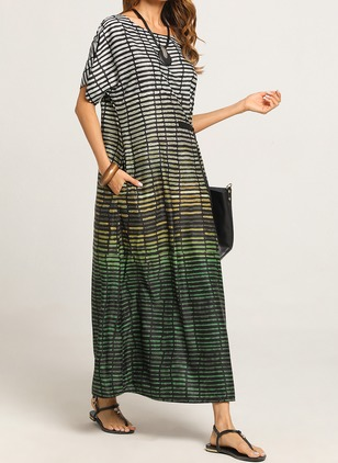 Color Block Cap Sleeve Maxi A-line Dress