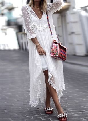 Solid Embroidery Tank Maxi Shift Dress