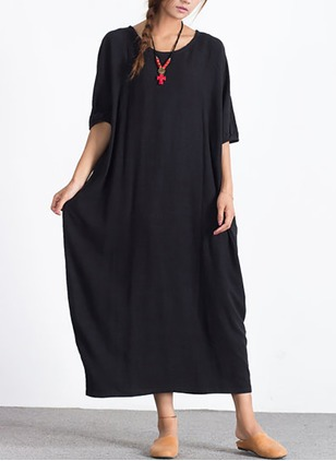 Cotton Linen Solid Half Sleeve Maxi Dresses
