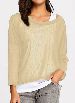 Round Neckline Solid Casual Loose Long None Sweaters (1286536)