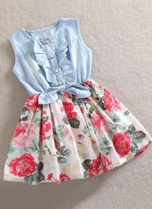 Girls' Floral Daily Sleeveless Dresses