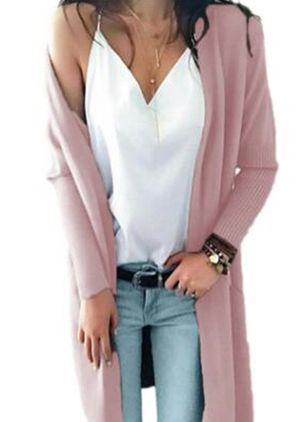 Long Sleeve Collarless Sweaters Coats (106293925)