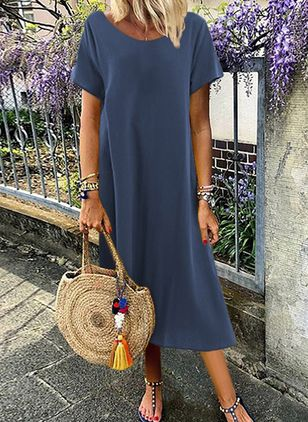 Casual Solid Tunic Round Neckline Shift Dress (4037957)