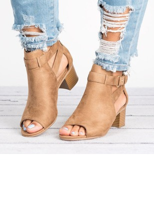 Buckle Zipper Peep Toe Nubuck Chunky Heel Shoes