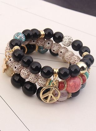 Casual Ball Round Gemstone Beaded Bracelets (4126974)