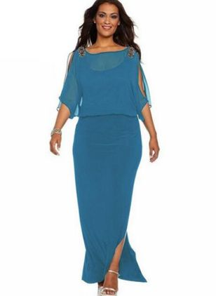 Plus Size Boho Solid Round Neckline Maxi Sheath Dress (1294469)