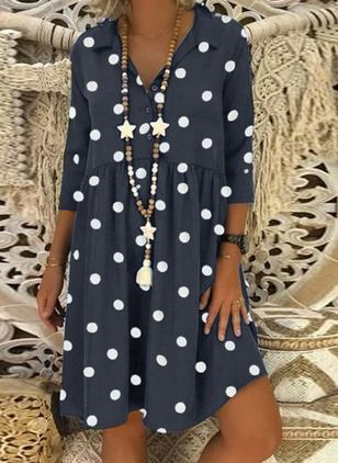Casual Polka Dot Tunic Collar A-line Dress (1526469)