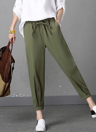 Harem Cotton Blends Trousers Pants & Leggings