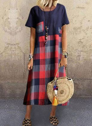 Casual Plaid Tunic Round Neckline A-line Dress (4209081)
