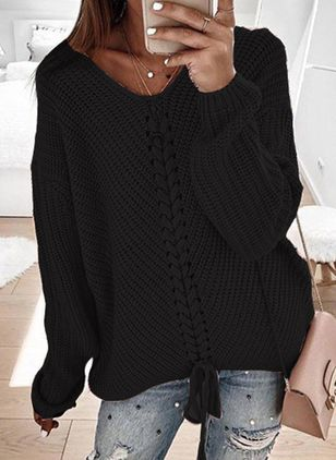 V-Neckline Solid Casual Loose Regular Shift Sweaters (101399069)