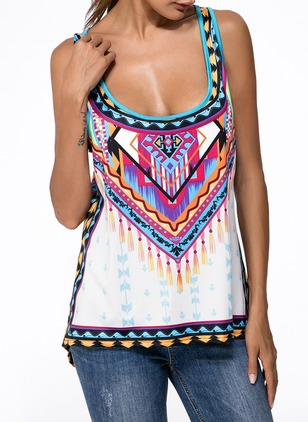Cotton Geometric Round Neck Sleeveless Sexy T-shirts