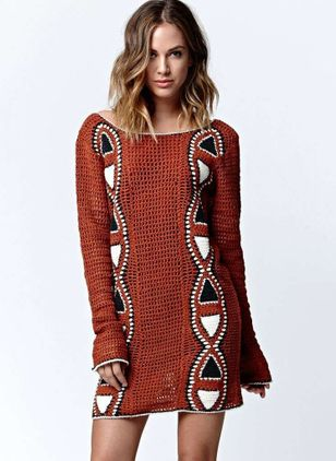 Color Block Appliques Sweater Above Knee Shift Dress