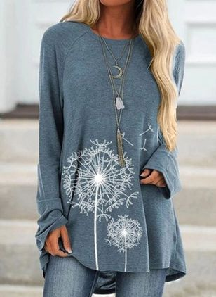 Floral Round Neck Long Sleeve Casual T-shirts (100321279)