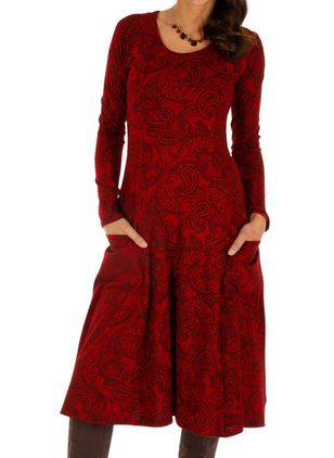 Casual Floral Round Neckline Midi X-line Dress (1394712)