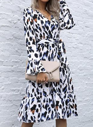 Casual Leopard Wrap V-Neckline X-line Dress (146683320)