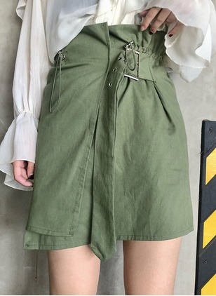 Cotton Solid Above Knee Sashes Skirts