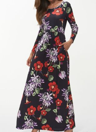 Casual Floral Round Neckline Maxi X-line Dress (100002134)