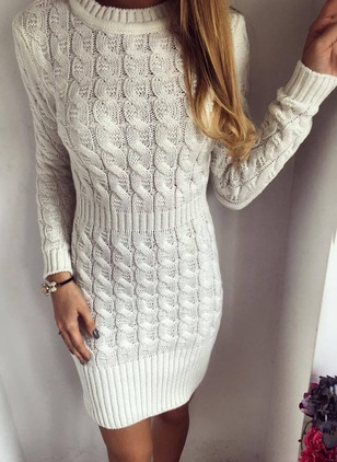 Solid Sweater Long Sleeve Bodycon Dress