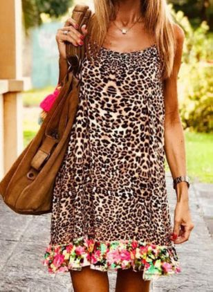 Casual Leopard Tunic Camisole Neckline A-line Dress (4072121)