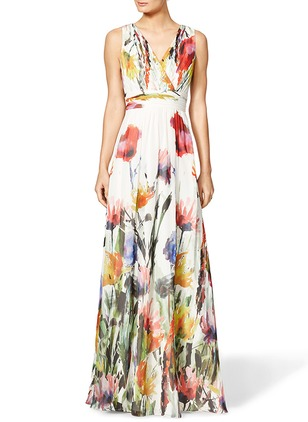 Floral Tunic V-Neckline Maxi X-line Dress (1187229)