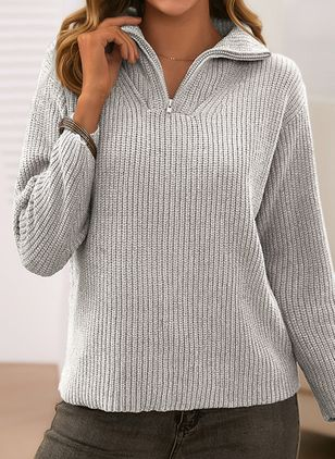 V-Neckline Solid Casual Loose Regular Zipper Sweaters (5502074)