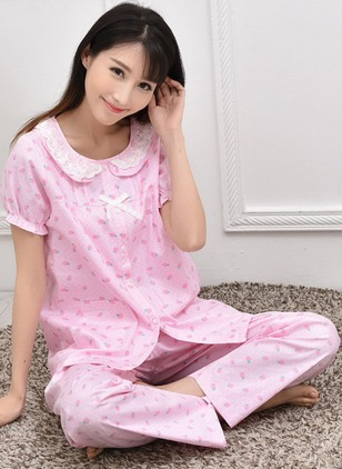 Cotton Round Neckline Color Block Lace Pockets Pajamas