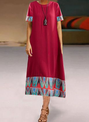 Casual Geometric Tunic Round Neckline A-line Dress (4456934)