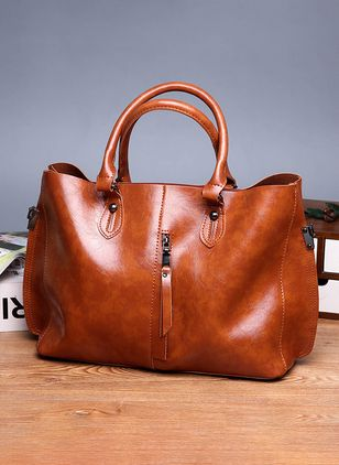 Tote Fashion Zipper Double Handle Bags