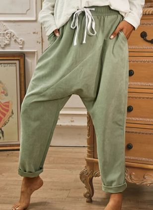 Casual Harem Pockets High Waist Polyester Pants (111109881)