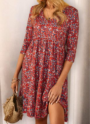 Casual Floral Tunic V-Neckline A-line Dress (4044285)