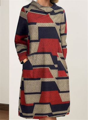 Casual Color Block Long Sleeve Knee-Length Dress (107519550)