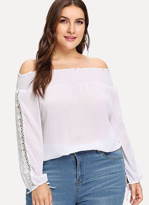 Plus Size Solid Casual Off the Shoulder Long Sleeve Blouses