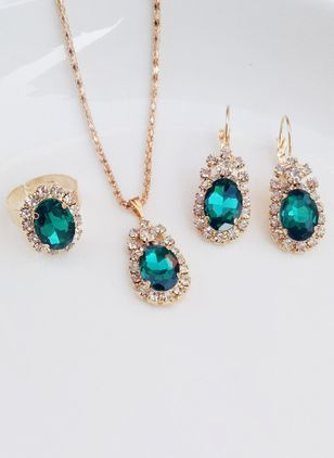 Geometric Gemstone Necklace Earring Ring Jewelry Sets (111608191)