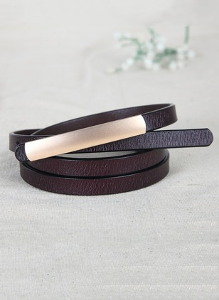 Leatherette Metal Solid Belts
