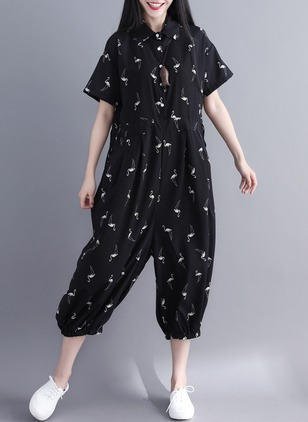 Cotton Animal Short Sleeve Jumpsuits & Rompers