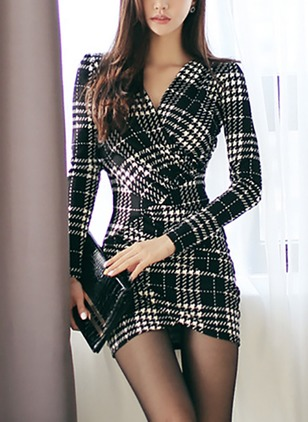 Plaid Pencil Long Sleeve Above Knee Bodycon Dress